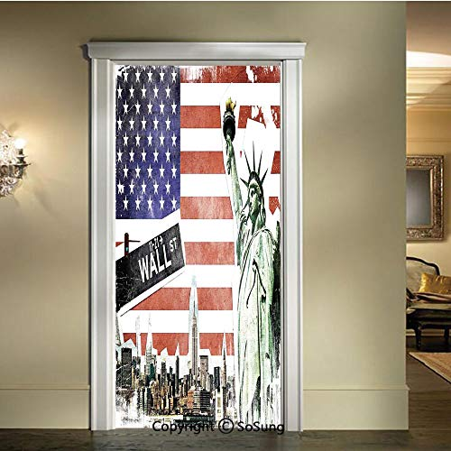 baihemiya Door Wallpaper Murals Wall Stickers,NYC-Collage-with-Famous-Monuments-Wall-Street-and-Manhattan-Urban-Display,W30.3xL78.7inch,for Home Room DecorMulti