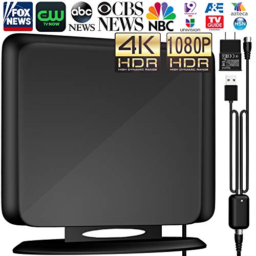 138+Miles Indoor HD Digital TV Antenna- Amplified HDTV Antenna High Reception Amplifier Antenna for TV Signals for All Older TV's Reception 4K/VHF/UHF/1080P Free Channels 13ft Coax
