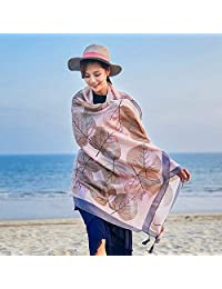 THSTVweijin Ms. Scarf Cotton Travel Scarf Vacation Sunscreen Scarf Air Conditioning Large Shawl Beach Towel THSTVweijin (Color : Grey)