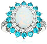 Platinum Plated Sterling Silver Created Opal and Swarovski Paraiba Mint Color Cubic Zirconia Stone Halo Ring