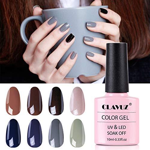 CLAVUZ Gel Nail Polish Set 8pcs Gel Color Collection Kit Manicure Pedicure Nail Art Gift Set