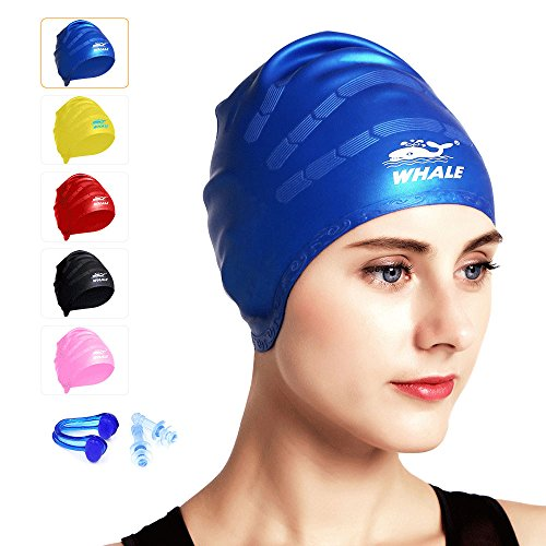 Large Swim Cap for Long Thick and Curly Hair Waterproof Silicone Swimming Caps For Women Men And Kids Ear Protection for Swimming Single Pack With Ear Plugs and Nose Clips - For Extra Heads Large Caps Swim