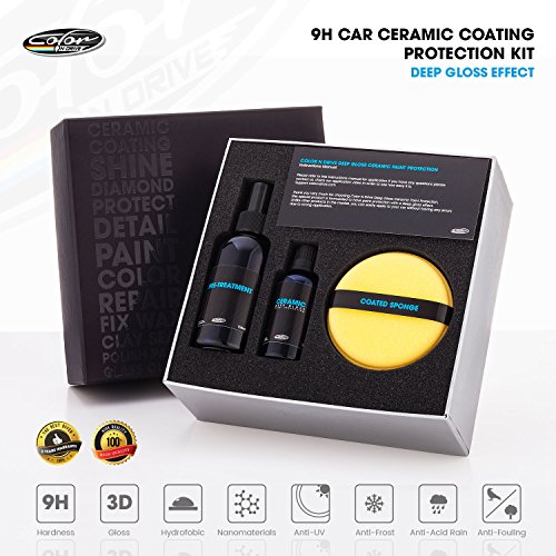 Color N Drive Car Ceramic Coating Kit: 9H Paint Sealant, Automotive Polish For Color Protection Against Scratches, Stains, Chipping And UV Light, Vehicle Care Deep Gloss Shine Finish, Easy To Use