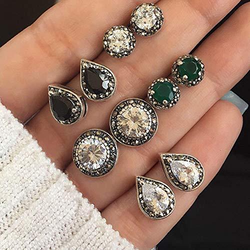 Screw Back Earrings Design (5 Pairs Stainless Steel Round Stud Earrings for Men Women Ear Piercing Earrings Cubic Zirconia Inlaid,Elegant Tassel Earrings Ear Stud Jewelry Gift Set (As Shown))