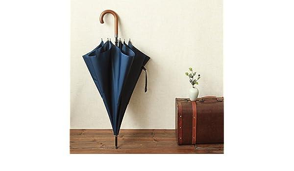 ZJM 112 cm Super Strong Typhoon paraguas automático con los hombres de negocios japonés Bar mango largo paraguas Anti-Explosion, azul: Amazon.es: Deportes y ...