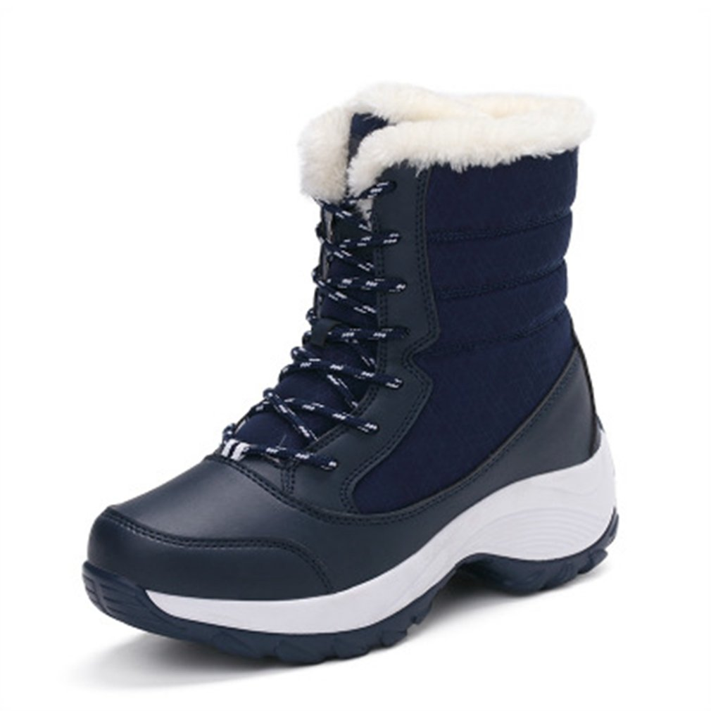 GIY Women Waterproof Snow Boots Fur Mid Calf Wedges Warm Insulated Lace up High Top Outdoor Sneaker Boots