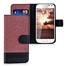 kwmobile Wallet case canvas cover for Samsung Galaxy S4 Mini - Flip case with card slot and stand in antique pink black