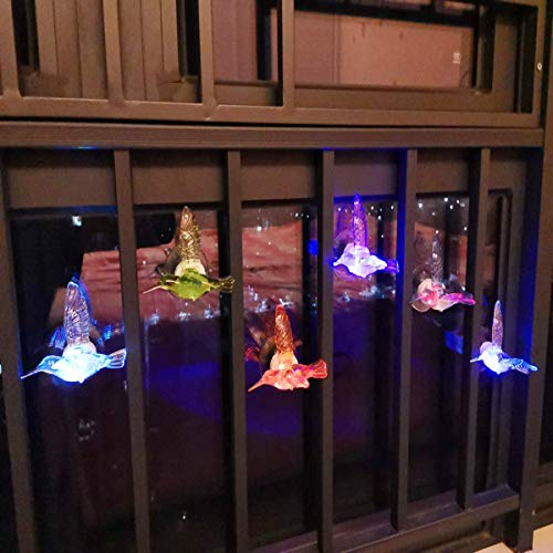 TuTu Home Wall Night Lights 3D Color Changing LED Hummingbird Lights with Suction Cup Decorative Lights for Home Party Garden Set of 6