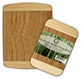 Da Vinci Natural Bamboo 2-Piece Cutting Board Set - 0.7'' Thick, Large 15.7''x 11.8'' and 11.8''x 7.9'' Boards