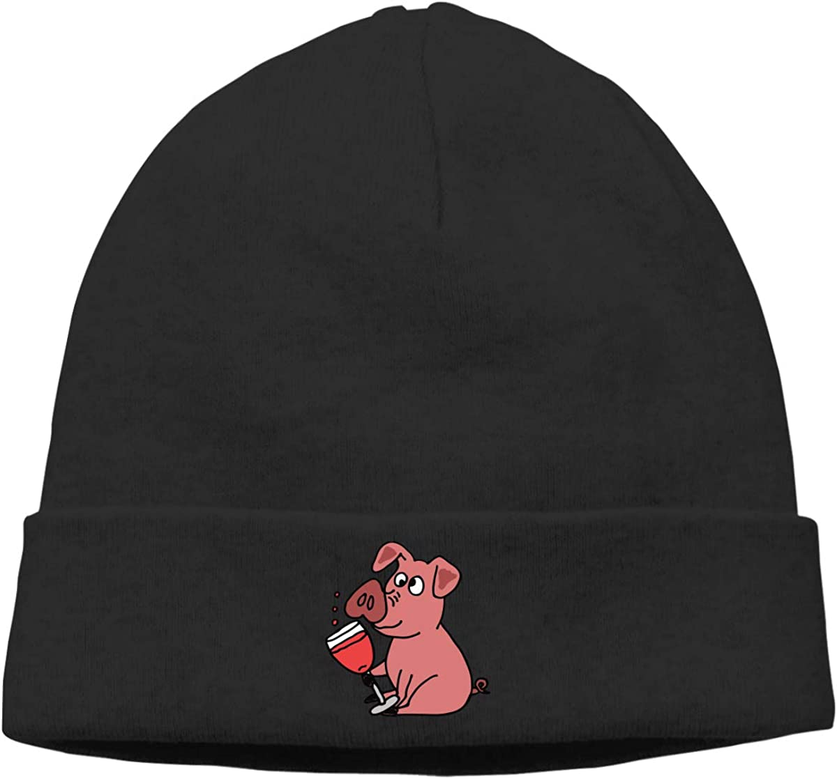 Stretchy /& Soft Winter Cap Pig Drinking Wine Cartoon Men Womens Solid Color Beanie Hat Thin