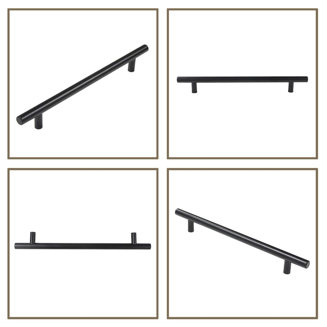 Probrico Pack of 5 Black Stainless Steel Kitchen Cabinet T Bar Handle Furniture Drawer Pulls Cuoboard Knobs PS3383HBK 32mm Projection//50mm Long