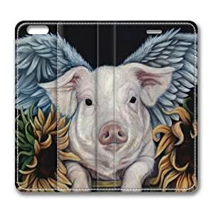 iPhone6(4.7 inch) leather case,The angel of swine Custom design high-grade leather, leather feel will never fade