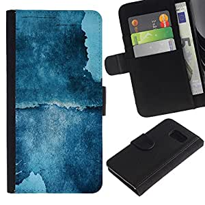KingStore / Leather Etui en cuir / Samsung Galaxy S6 / Pintura azul del arte de la acuarela del acantilado Naturaleza