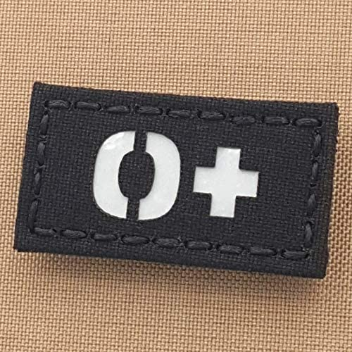 Reflective OPOS O+ Blood Type 1x2 First Aid Kit IFAK Tactical Morale Fastener Patch