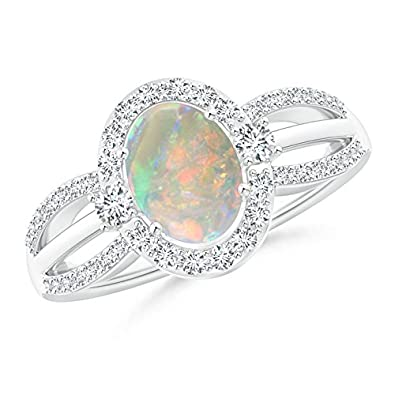 Angara Split Shank Opal Ring in Yellow Gold - October Birthstone Ring T0Lm9pc