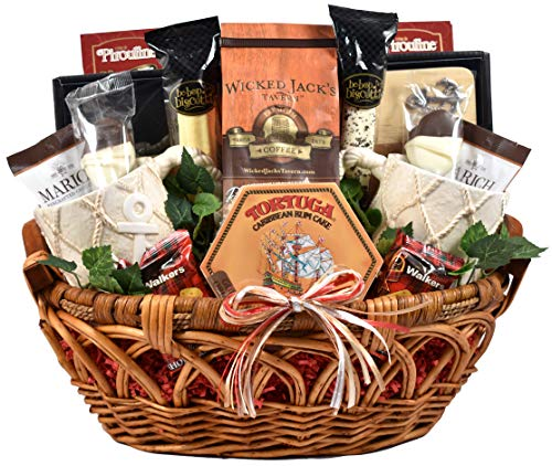 Anchors Away - Nautical Themed Gift Basket With Two Ceramic Coffee Mugs, Wooden Cutting Board, Wisconsin Cheese, Sausage, Crackers, Coffee (10 lb) ()