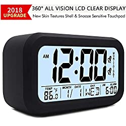 TXL Large LCD Digital Alarm Clock 4.7 Kids Bedside Clock Battery Operated with Snooze&Light Touchpad Function/2 Alarms/Temperature Electronic Desk&Shelf Clock for Childrens/Seniors/Teens Dorm-Black