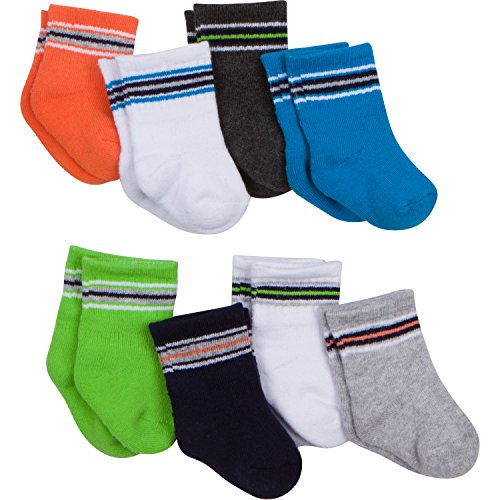 Gerber Baby 8 Pack Snug-fit Crew Sock, Multi/Color, 6-12 Months