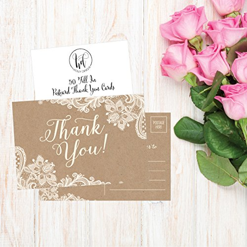 50 4x6 Kraft Thank You Postcards Bulk, Cute Rustic Matte Blank Thank You Note Card Stationery Set For Wedding, Bridesmaid, Bridal Baby Shower, Teachers, Appreciation, Religious, Business, Holidays Photo #5