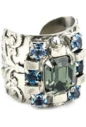 "Sorrelli ""Salt Water"" Square Checker Crystal Silver-Tone Adjustable Ring"