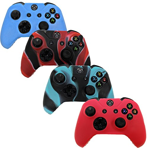 HDE Xbox One Controller Skin 4 Pack Combo Silicone Rubber Protective Grip Case Cover for Microsoft Xbox 1 Wireless Gamepad (Red, Blue, Blue Black Marble, Black Red Marble) [Xbox 360]