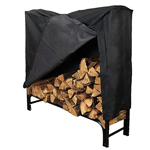 Sunnydaze 4-Foot Firewood Log Rack with Cover Combo, Outdoor Wood Storage Holder, Black