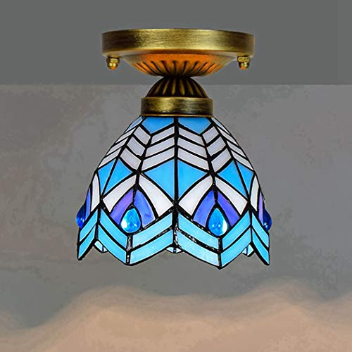 Tiffany Ceiling Fixture Lamp Sea Blue Victorian Semi Flush Mount Pendant Hanging Light 6 Inch Antique Style Art Colorful Glass Shade,Blue,C