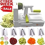 : Brieftons 5-Blade Spiralizer (BR-5B-02): Strongest-and-Heaviest Duty Vegetable Spiral Slicer, Best Veggie Pasta Spaghetti Maker for Low Carb/Paleo/Gluten-Free, With Extra Blade Caddy & 3 Recipe Ebooks