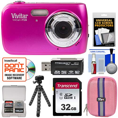 - Vivitar ViviCam F126 Digital Camera (Pink) with 32GB Card + Case + Tripod + Kit
