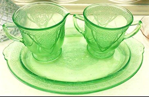 Federal Green Depression Glass Sugar and Creamer - Glass Federal Creamer Glass