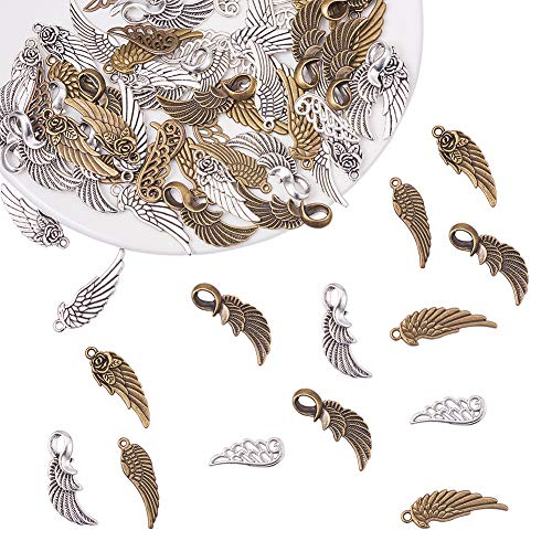 (PH PandaHall 100pcs 5 Style Antique Bronze & Silver Angel Wings Tibetan Alloy Charms Pendants Beads Charms for DIY Bracelet Necklace Jewelry Making)