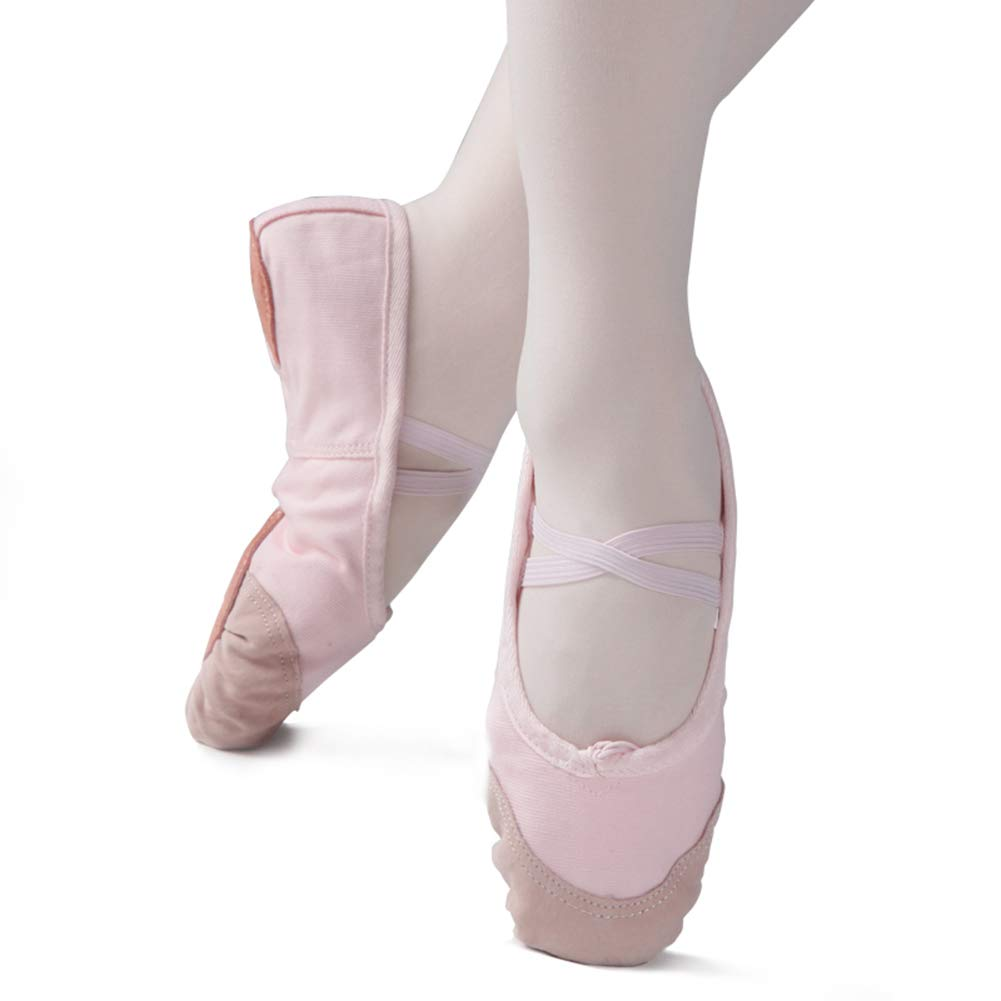 Kid Girl's Classic Canvas Practise Ballet Dancing Yoga Shoes,Pink,9.5M US
