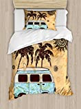 Lunarable Vintage Hawaii Duvet Cover Set Twin Size, Retro Trees Old Van with Abstract Sun Design Beach Surfing Board, Decorative 2 Piece Bedding Set with 1 Pillow Sham, Orange Brown Sky Blue