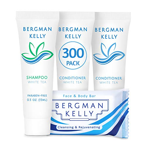 BERGMAN KELLY Rectangular Soap Bars, Shampoo & Conditioner 3-Piece Set (0.5 oz each, 900 pc, White Tea), Delight Your Guests with Revitalizing & Refreshing Bulk Travel Toiletries & Hotel Amenities