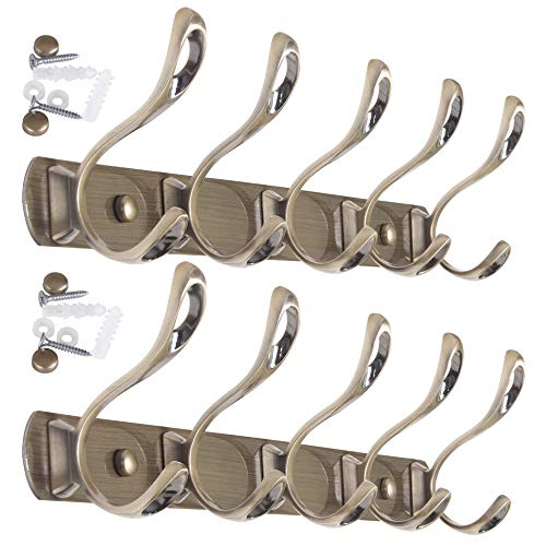 WEBI Coat Rack Wall Mounted,Metal Wall Coat Rack with 5 Hooks for Hanging Coats,Double Prong Coat Hook Rack Hook Rail Coat Hanger Wall Mount for Jacket Clothes Entryway,Bronze,2 Packs
