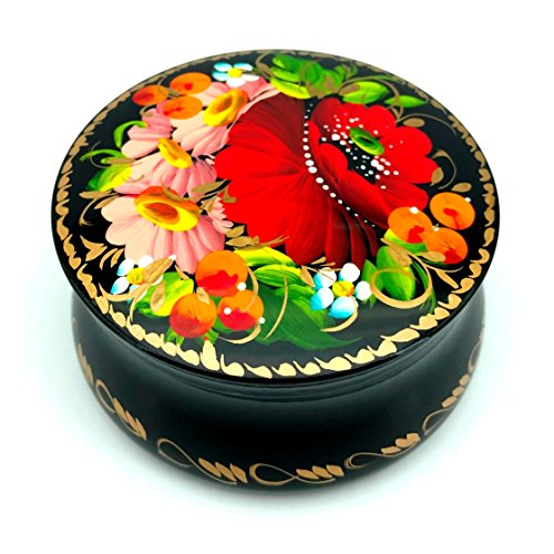 UA Creations Small Lacquer Box with Hand Painted Flowers for Earrings Necklace, Rings, Nice Gift for Girls and Women