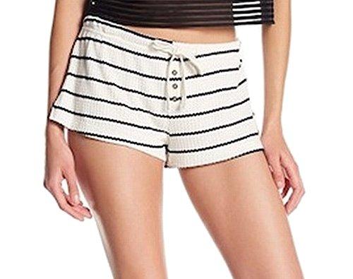 C&C California Black Stripe Woman Waffle Knit Shorts White XL free shipping