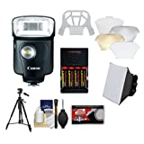 Canon Speedlite 320EX Flash with LED Light & Softbox + Diffuser + Batteries & Charger + Tripod + Accessory Kit for EOS 6D, 70D, 5D Mark II III, Rebel T3, T3i, T4i, T5, T5i, SL1 Cameras