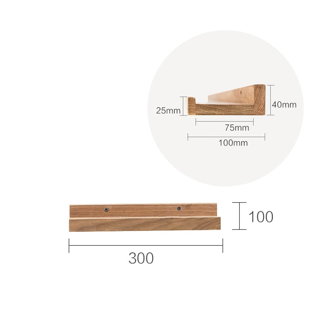 Wall Shelf Solid Wood Shelf Living Room TV Wall Bedroom Wall Shelf 300 100mm ( Size : 300100mm ) by Boyang