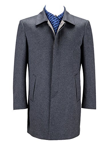 Ding Tong slim blended fabric of wool and cashmere men's coat(Grey)