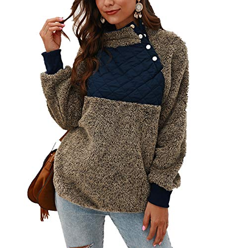 Women's Warm Sherpa Pullover Sweatshirt,Long Sleeve Oblique Button Neck Fleece Casual Geometric Pattern Patchwork Outwear Green