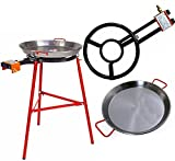 Paella Pan + Paella Burner and Stand Set - Complete Paella Kit for up to 19 Servings