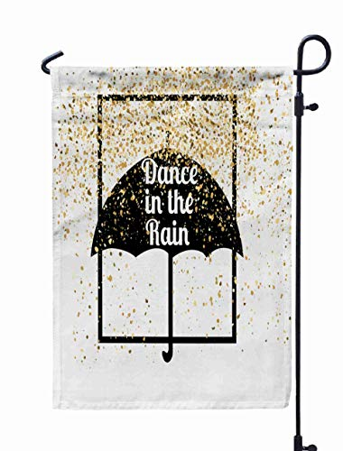 Shorping Decorative Outdoor Garden Flag, 12x18Inch Dance in The Rain Typographic Print Poster T Shirt Hand Lettered calligr for Holiday and Seasonal Double-Sided Printing Yards Flags]()