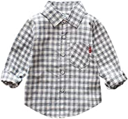 AIKSSOO Infant Toddler Boys Plaid Shirt Cotton Top Outfit Casual Button Down Shirt