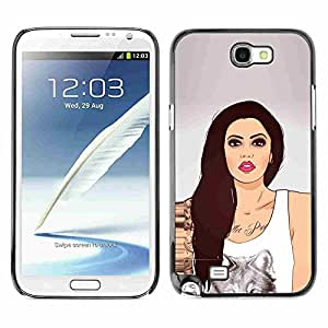 Shell-Star ( Sexy Wolf Girl ) Fundas Cover Cubre Hard Case Cover para Samsung Galaxy Note 2 II / N7100