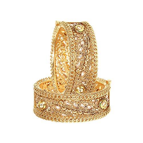 YouBella Ethnic Bollywood Kundan Studded Gold Plated Traditional Bracelets Bangles Jewellery for Women and Girls (5.7) (Studded Diamond Bracelet Bangle)