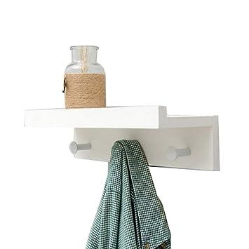 Margueras - 1 estante toallero perchero de pared (bambú con estante y ganchos), blanco, 3K