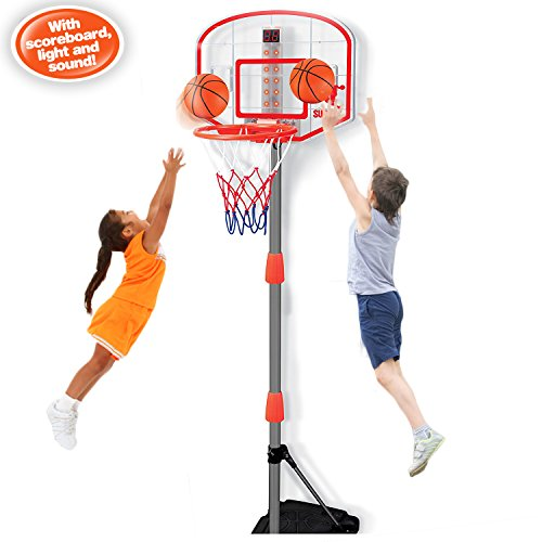 Youper Mini Adjustable Portable Basketball Stand & Hoop System, Kid Electronic Basketball Set with Scoreboard (Lights & Sounds)