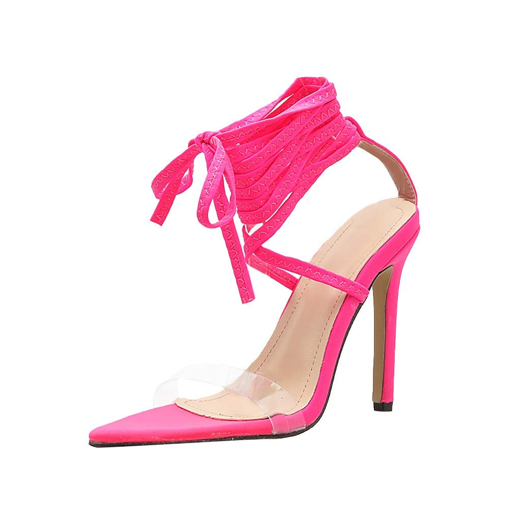 Nadition Tie Up Ankle Summer Sandals❤️️Women Thin High Heel Sandals Casual Shoes Transparent PVC Waterproof Sandals Hot Pink