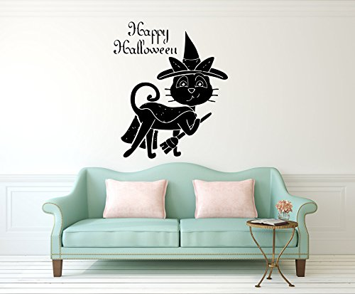 Vinyl Wall Decal - Funny Halloween Black Cat in Hat and Quotes Happy Halloween - Home Decor Sticker Vinyl Decals